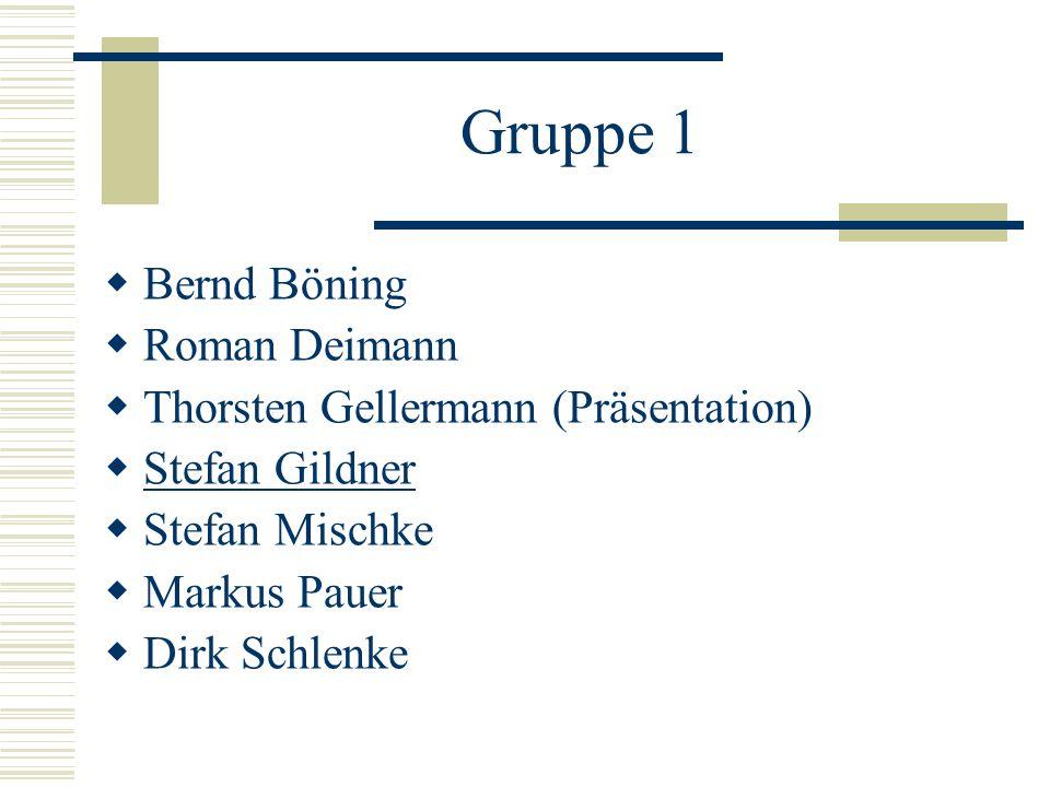 Gruppe 1 Bernd Böning Roman Deimann Thorsten Gellermann (Präsentation) Stefan Gildner Stefan Mischke Markus Pauer Dirk Schlenke
