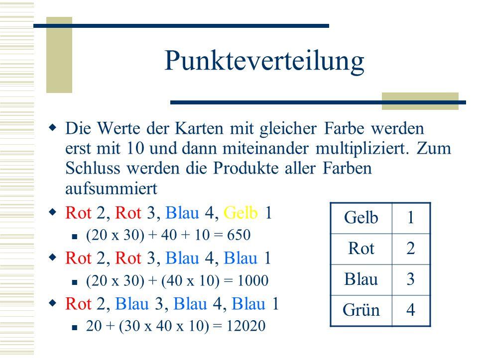 Punkteverteilung Die Werte der Karten mit gleicher Farbe werden erst mit 10 und dann miteinander multipliziert.