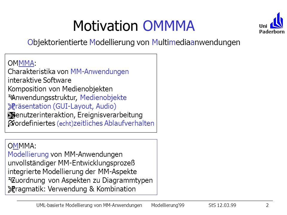 Motivation OMMMA UML-basierte Modellierung von MM-AnwendungenModellierung99StS 12.03.992 Uni Paderborn OMMMA: Charakteristika von MM-Anwendungen interaktive Software Komposition von Medienobjekten ÊAnwendungsstruktur, Medienobjekte ËPräsentation (GUI-Layout, Audio) ÌBenutzerinteraktion, Ereignisverarbeitung Ívordefiniertes (echt) zeitliches Ablaufverhalten OMMMA: Modellierung von MM-Anwendungen unvollständiger MM-Entwicklungsprozeß integrierte Modellierung der MM-Aspekte ÊZuordnung von Aspekten zu Diagrammtypen ËPragmatik: Verwendung & Kombination Objektorientierte Modellierung von Multimediaanwendungen