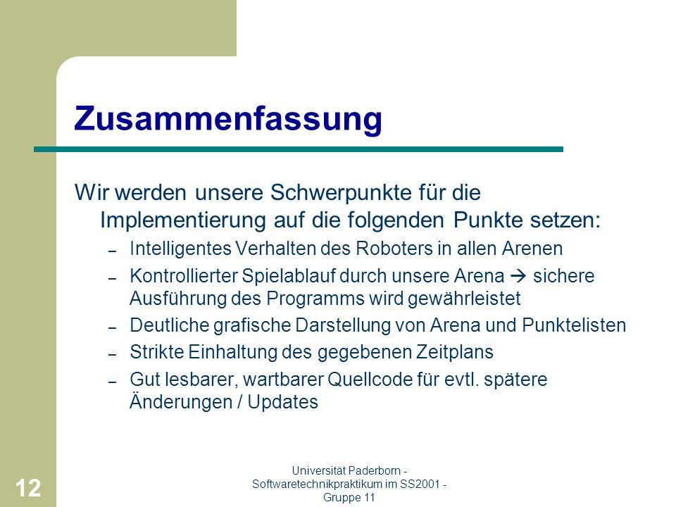 11 Universität Paderborn - Softwaretechnikpraktikum im SS2001 - Gruppe 11 Redesign : Roboter Ideen der alten Strategien werden übernommen Code wird ne