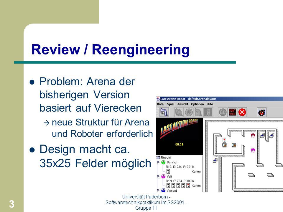 2 Universität Paderborn - Softwaretechnikpraktikum im SS2001 - Gruppe 11 Ziel / Aufgabenstellung Entwurf einer virtuellen Arena und eines Roboters Wie