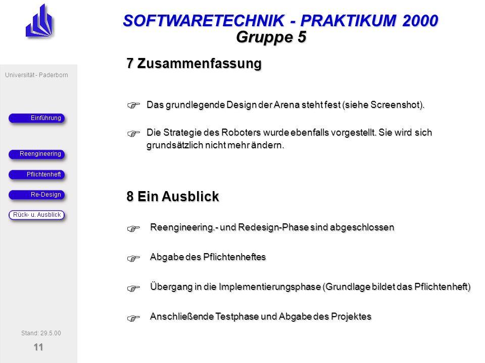 SOFTWARETECHNIK - PRAKTIKUM 2000 Universität - Paderborn 11 Gruppe 5 7 Zusammenfassung Das grundlegende Design der Arena steht fest (siehe Screenshot).