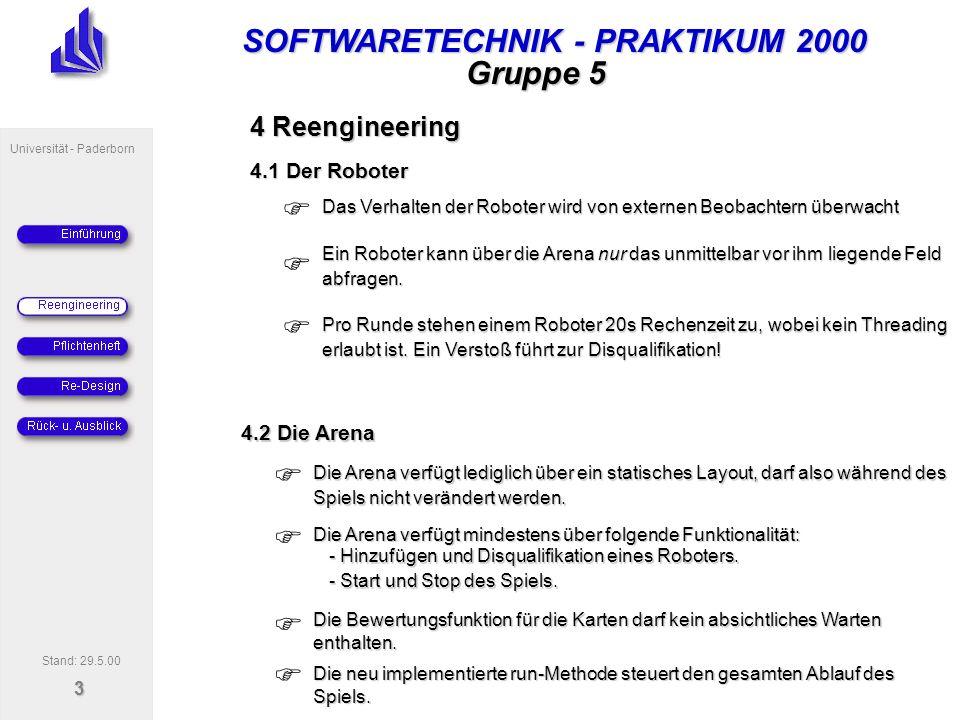 SOFTWARETECHNIK - PRAKTIKUM 2000 Universität - Paderborn 4 Gruppe 5 4.2.1 Sequenzdiagramm run-Methode Stand: 29.5.00 :ArenaGUI action:Action :Arena:Math iteratorOfRobots:Iterator robot:Robot robotArray:Robot[ ] New run() random () New Give robotArray your data data Change order robot=getRobotArray [i] action=getCommand() doAction(robot) setEnergy(robot.energy-1) .