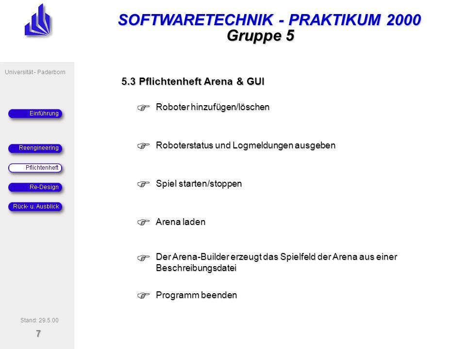 SOFTWARETECHNIK - PRAKTIKUM 2000 Universität - Paderborn 7 Gruppe 5 5.3 Pflichtenheft Arena & GUI Roboter hinzufügen/löschen Roboterstatus und Logmeldungen ausgeben Spiel starten/stoppen Arena laden Programm beenden Stand: 29.5.00 Der Arena-Builder erzeugt das Spielfeld der Arena aus einer Beschreibungsdatei