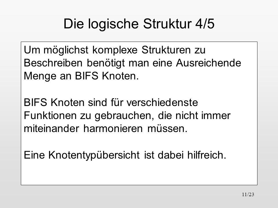11/23 Die logische Struktur 4/5 Um möglichst komplexe Strukturen zu Beschreiben benötigt man eine Ausreichende Menge an BIFS Knoten. BIFS Knoten sind