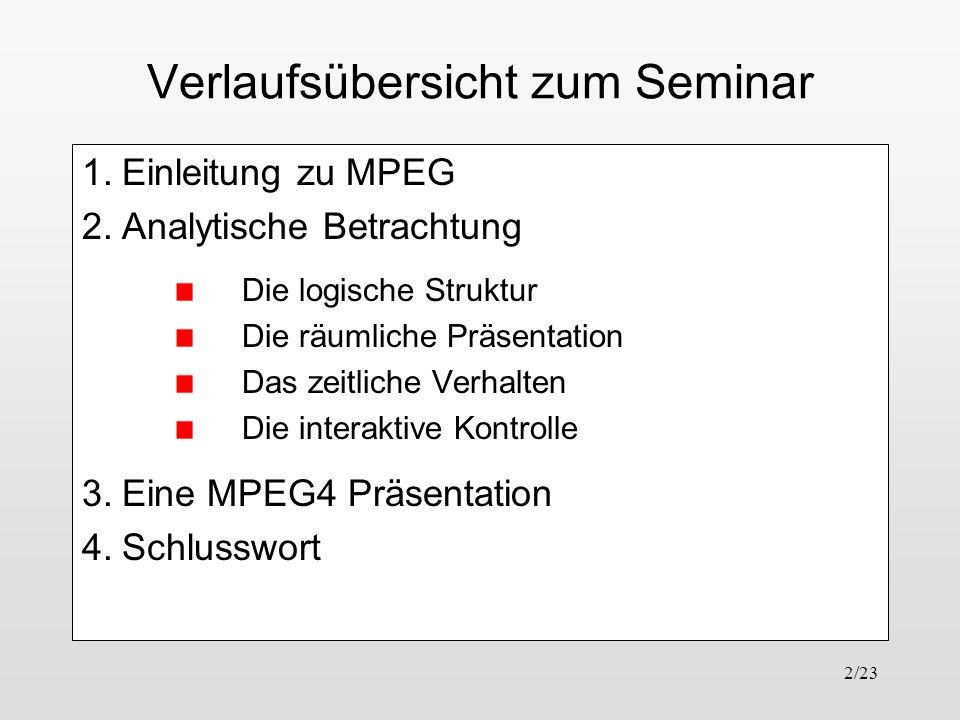 2/23 Verlaufsübersicht zum Seminar 1.Einleitung zu MPEG 2.Analytische Betrachtung Die logische Struktur Die räumliche Präsentation Das zeitliche Verha