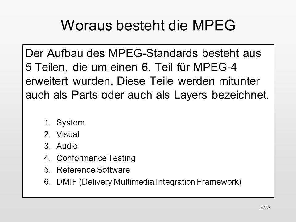 5/23 Woraus besteht die MPEG Der Aufbau des MPEG-Standards besteht aus 5 Teilen, die um einen 6. Teil für MPEG-4 erweitert wurden. Diese Teile werden