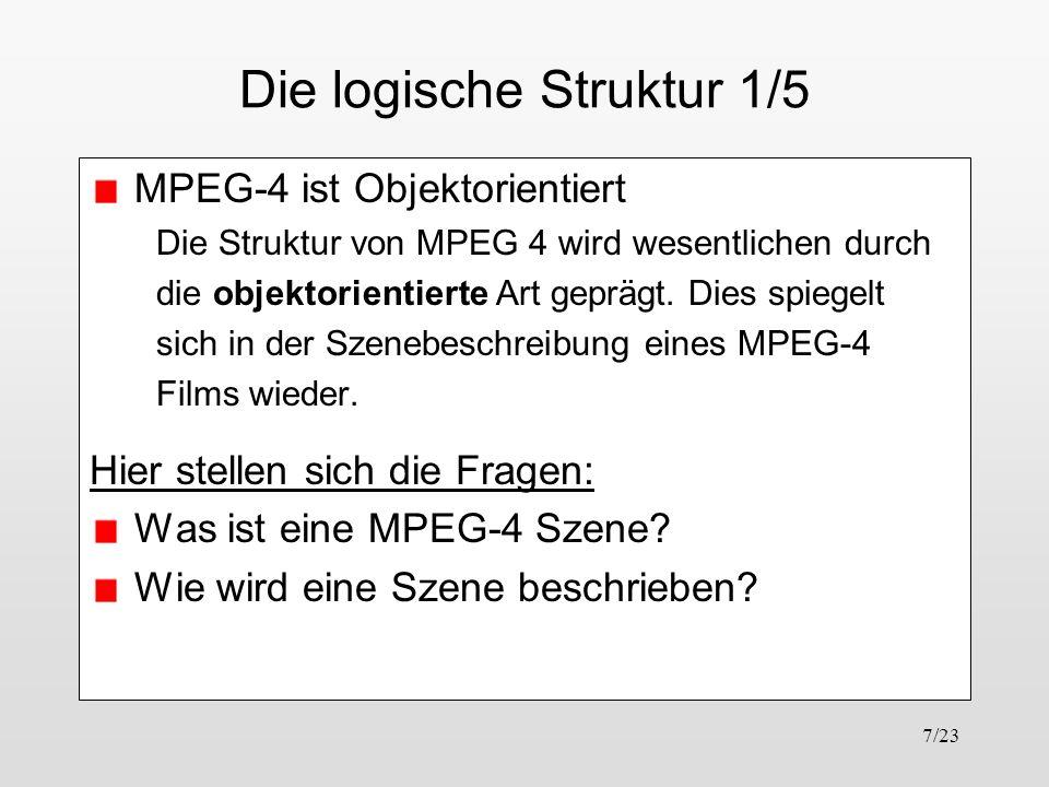 7/23 Die logische Struktur 1/5 MPEG-4 ist Objektorientiert Die Struktur von MPEG 4 wird wesentlichen durch die objektorientierte Art geprägt. Dies spi