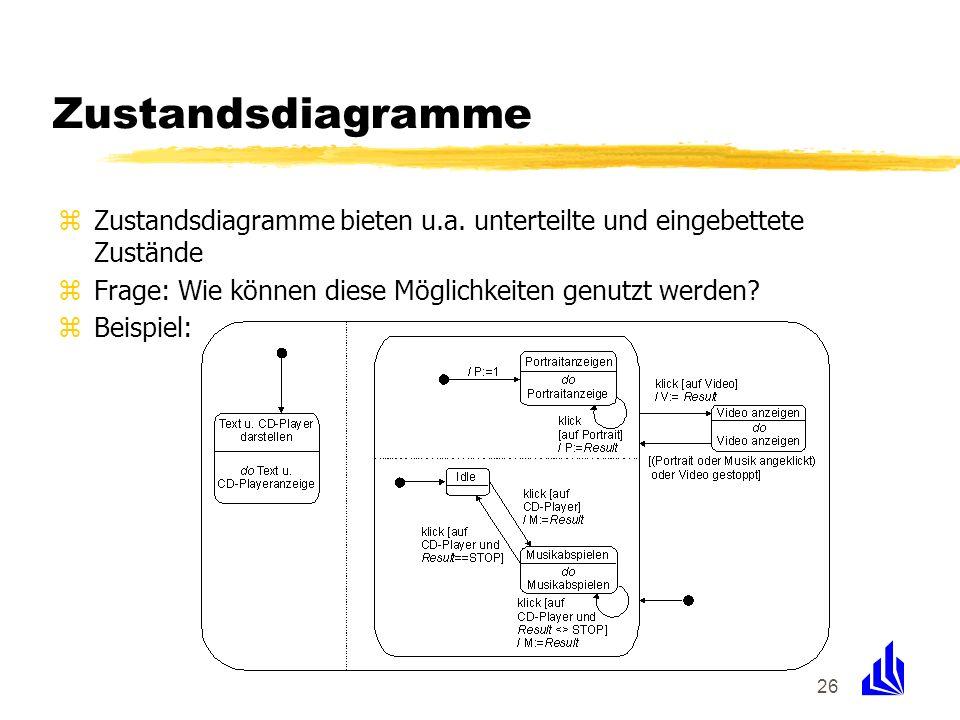 26 Zustandsdiagramme zZustandsdiagramme bieten u.a. unterteilte und eingebettete Zustände zFrage: Wie können diese Möglichkeiten genutzt werden? Beisp