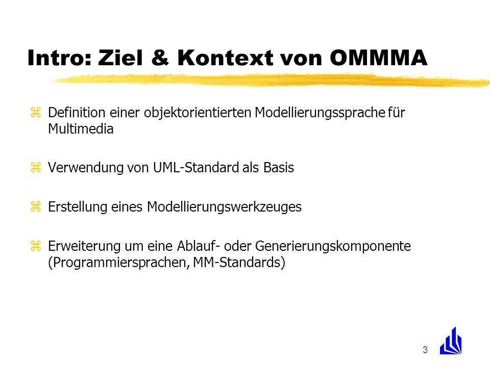 3 Intro: Ziel & Kontext von OMMMA zDefinition einer objektorientierten Modellierungssprache für Multimedia zVerwendung von UML-Standard als Basis zErs