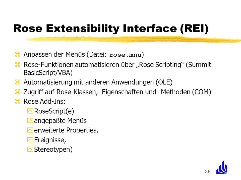 35 Rose Extensibility Interface (REI) Anpassen der Menüs (Datei: rose.mnu ) zRose-Funktionen automatisieren über Rose Scripting (Summit BasicScript/VB