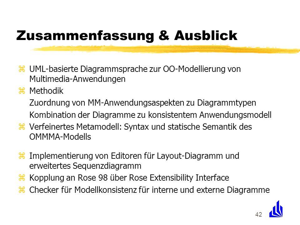 42 Zusammenfassung & Ausblick zUML-basierte Diagrammsprache zur OO-Modellierung von Multimedia-Anwendungen zMethodik Zuordnung von MM-Anwendungsaspekt