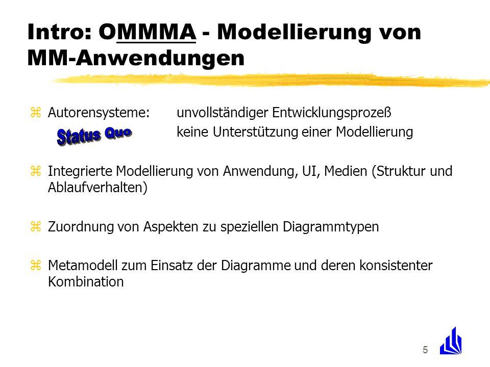 5 Intro: OMMMA - Modellierung von MM-Anwendungen zAutorensysteme:unvollständiger Entwicklungsprozeß keine Unterstützung einer Modellierung zIntegriert