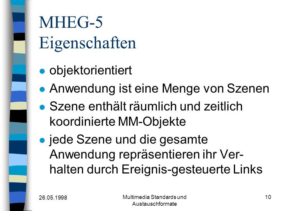 26.05.1998 Multimedia Standards und Austauschformate 10 MHEG-5 Eigenschaften objektorientiert Anwendung ist eine Menge von Szenen Szene enthält räumlich und zeitlich koordinierte MM-Objekte jede Szene und die gesamte Anwendung repräsentieren ihr Ver- halten durch Ereignis-gesteuerte Links