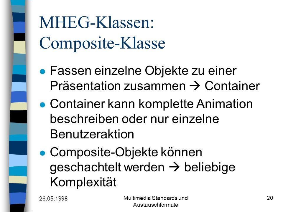 26.05.1998 Multimedia Standards und Austauschformate 20 MHEG-Klassen: Composite-Klasse Fassen einzelne Objekte zu einer Präsentation zusammen Container Container kann komplette Animation beschreiben oder nur einzelne Benutzeraktion Composite-Objekte können geschachtelt werden beliebige Komplexität