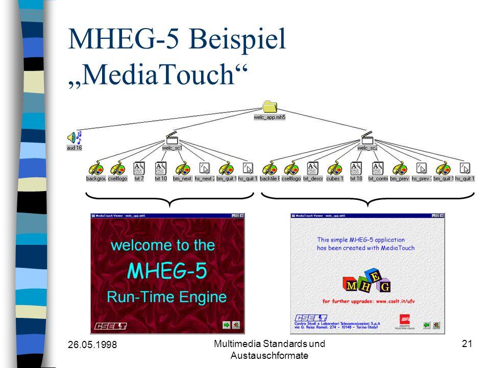 26.05.1998 Multimedia Standards und Austauschformate 21 MHEG-5 Beispiel MediaTouch
