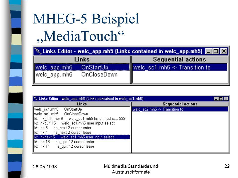 26.05.1998 Multimedia Standards und Austauschformate 22 MHEG-5 Beispiel MediaTouch