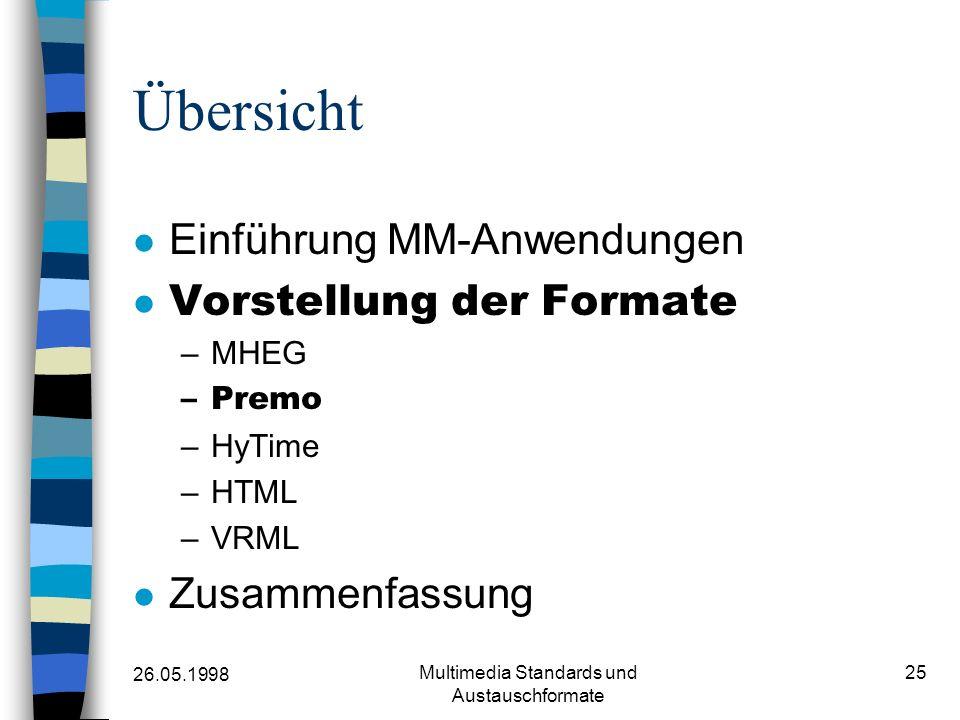 26.05.1998 Multimedia Standards und Austauschformate 25 Übersicht Einführung MM-Anwendungen Vorstellung der Formate –MHEG –Premo –HyTime –HTML –VRML Zusammenfassung