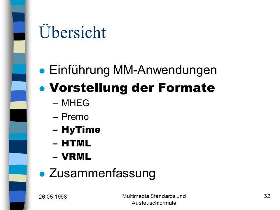 26.05.1998 Multimedia Standards und Austauschformate 32 Übersicht Einführung MM-Anwendungen Vorstellung der Formate –MHEG –Premo –HyTime –HTML –VRML Zusammenfassung