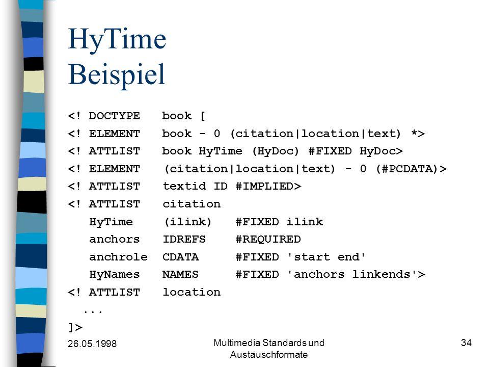 26.05.1998 Multimedia Standards und Austauschformate 34 HyTime Beispiel <! DOCTYPE book [ <! ATTLIST citation HyTime (ilink) #FIXED ilink anchors IDRE