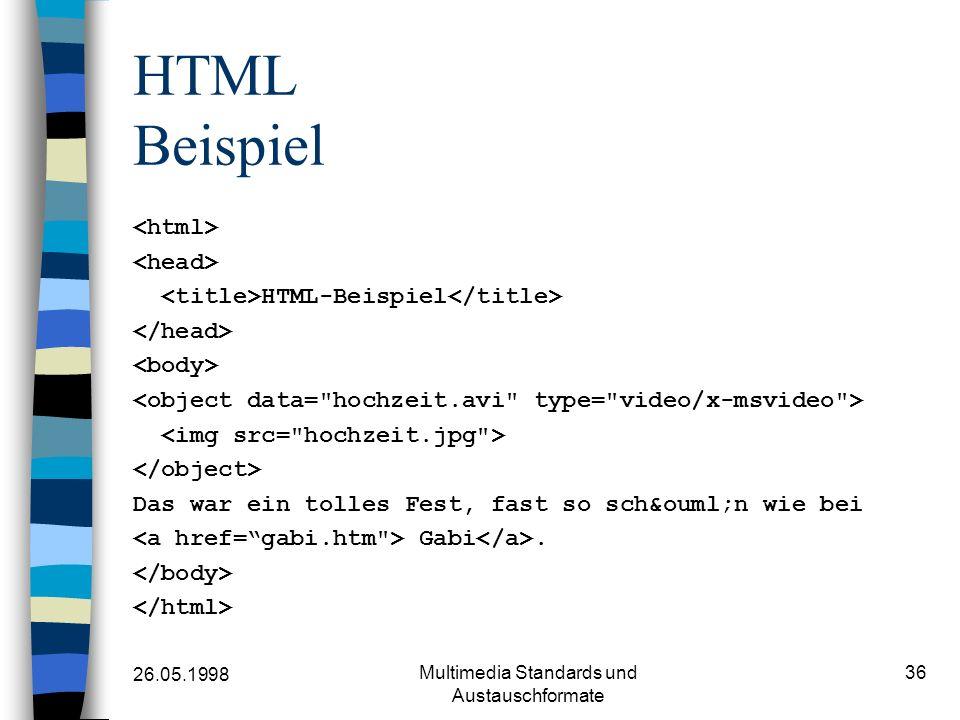 26.05.1998 Multimedia Standards und Austauschformate 36 HTML Beispiel HTML-Beispiel Das war ein tolles Fest, fast so schön wie bei Gabi.