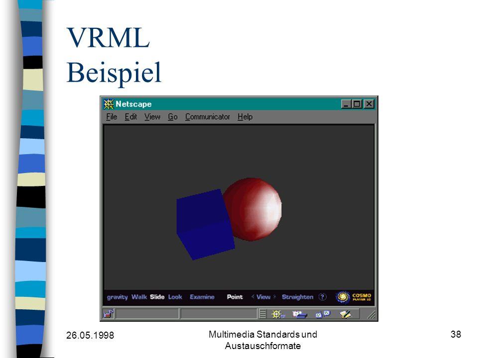 26.05.1998 Multimedia Standards und Austauschformate 38 VRML Beispiel
