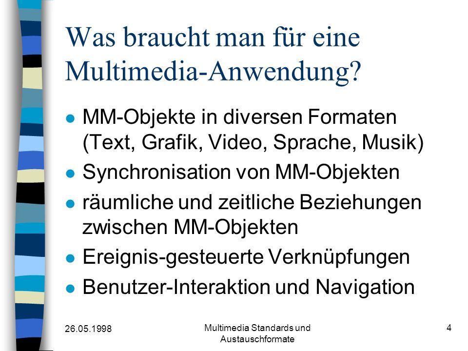 26.05.1998 Multimedia Standards und Austauschformate 4 Was braucht man für eine Multimedia-Anwendung? MM-Objekte in diversen Formaten (Text, Grafik, V