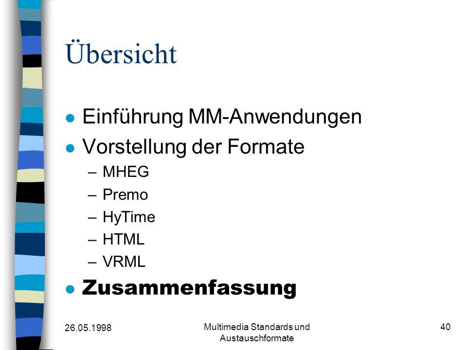 26.05.1998 Multimedia Standards und Austauschformate 40 Übersicht Einführung MM-Anwendungen Vorstellung der Formate –MHEG –Premo –HyTime –HTML –VRML Zusammenfassung