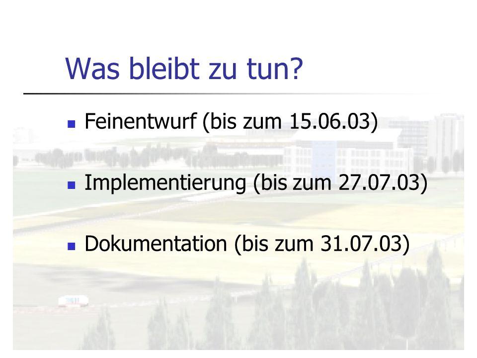 Was bleibt zu tun? Feinentwurf (bis zum 15.06.03) Implementierung (bis zum 27.07.03) Dokumentation (bis zum 31.07.03)