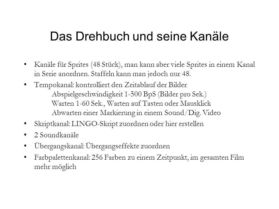 Das Drehbuch und seine Kanäle Kanäle für Sprites (48 Stück), man kann aber viele Sprites in einem Kanal in Serie anordnen.