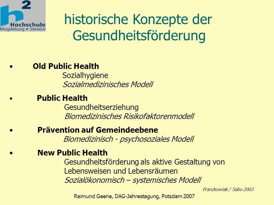 Phase 2 Raimund Geene, DAG-Jahrestagung, Potsdam 2007 Der internationale Bezugspunkt: Die Ottawa-Charta 1986 Magna Charta der Gesundheitsförderung befähigen – vermitteln - vertreten Gemeinschaftsaktionen stärken Persönliche Kompetenzen entwickeln Gesundheitsdienste neu orientieren Gesundheitsfördernde Gesamtpolitik