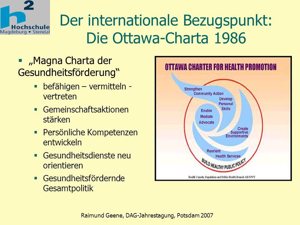 Phase 2 Raimund Geene, DAG-Jahrestagung, Potsdam 2007 Modellfall AIDS-Prävention (1) AIDS – die neue Krankheit Mitte der 80er medizinisch nicht zu kurieren Zentraler Stellenwert der Prävention Gesellschaftliche Lernstrategie oder Individuelle Suchstrategie