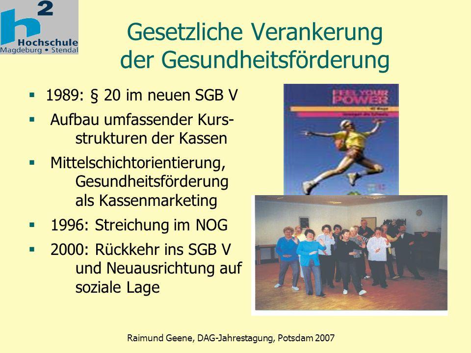 Phase 2 Raimund Geene, DAG-Jahrestagung, Potsdam 2007 SGB V, § 20 (1) in der aktuellen Fassung, in Kraft getreten 1.1.2000 Die Krankenkasse soll in der Satzung Leistungen zur primären Prävention vorsehen, die die in den Sätzen 2 und 3 genannten Anforderungen erfüllen.