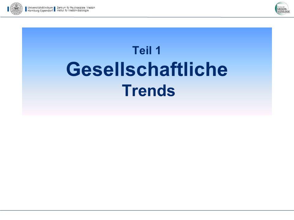 Zentrum für Psychosoziale Medizin Institut für Medizin-Soziologie Teil 1 Gesellschaftliche Trends