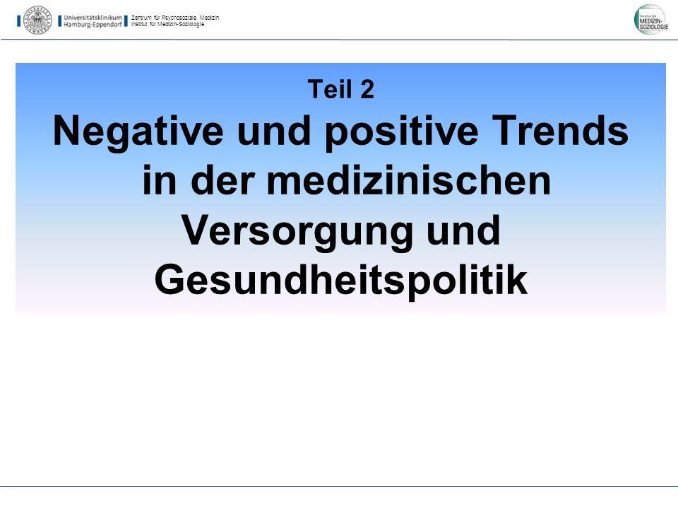 Zentrum für Psychosoziale Medizin Institut für Medizin-Soziologie Teil 2 Negative und positive Trends in der medizinischen Versorgung und Gesundheitspolitik