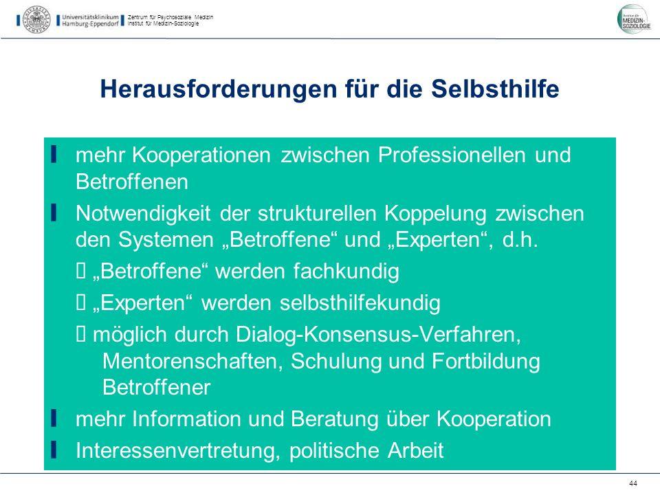 Zentrum für Psychosoziale Medizin Institut für Medizin-Soziologie 44 Herausforderungen für die Selbsthilfe mehr Kooperationen zwischen Professionellen und Betroffenen Notwendigkeit der strukturellen Koppelung zwischen den Systemen Betroffene und Experten, d.h.