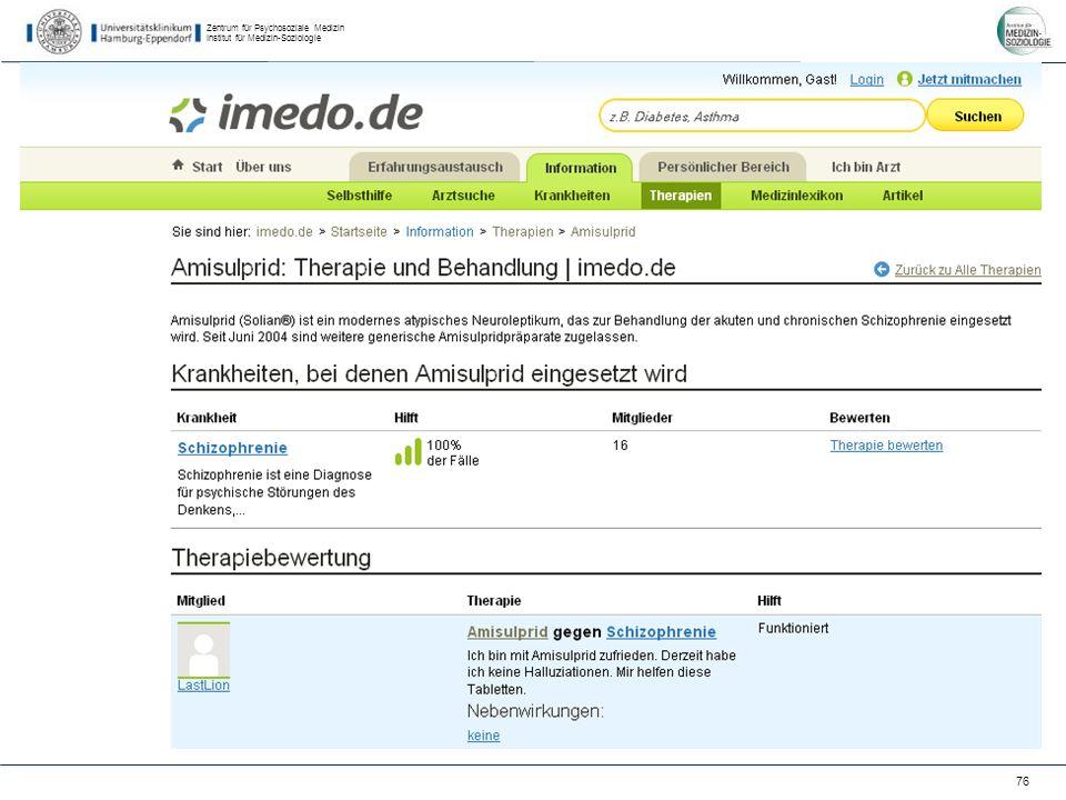 Zentrum für Psychosoziale Medizin Institut für Medizin-Soziologie 76 imedo