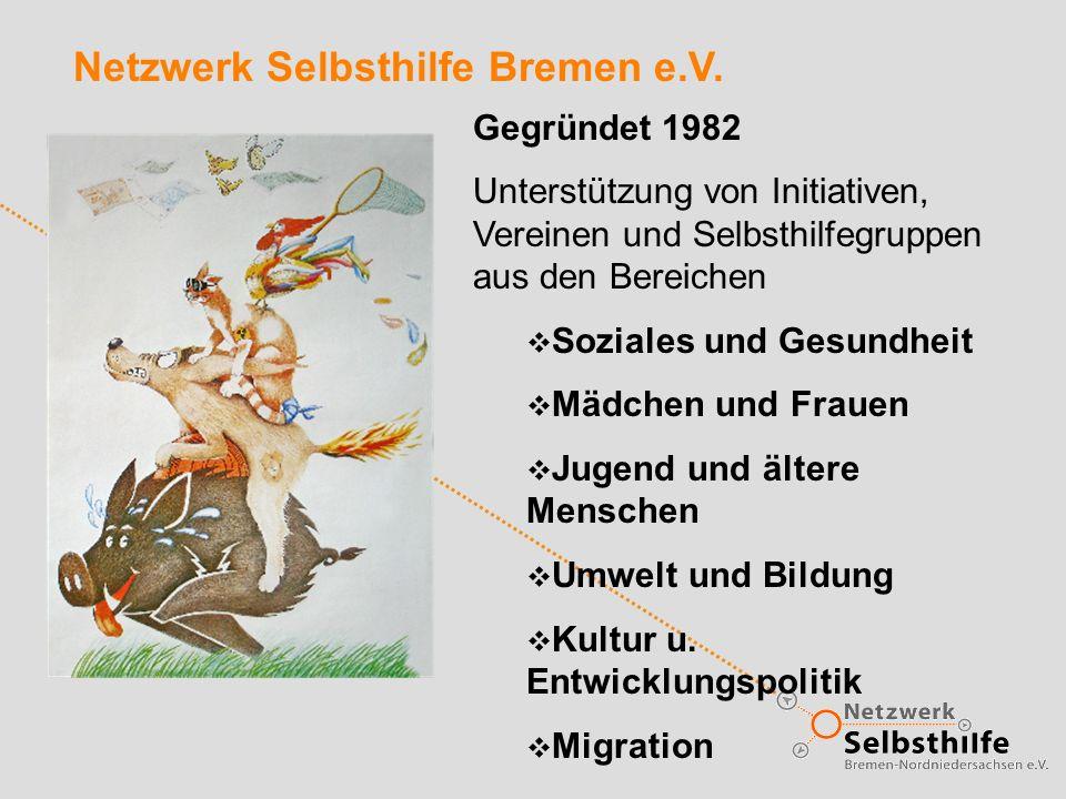 Netzwerk Selbsthilfe Bremen e.V. Gegründet 1982 Unterstützung von Initiativen, Vereinen und Selbsthilfegruppen aus den Bereichen Soziales und Gesundhe