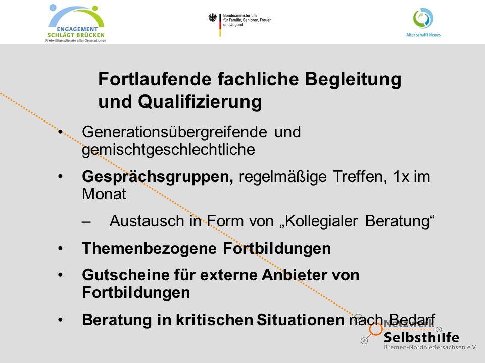 Fortlaufende fachliche Begleitung und Qualifizierung Generationsübergreifende und gemischtgeschlechtliche Gesprächsgruppen, regelmäßige Treffen, 1x im