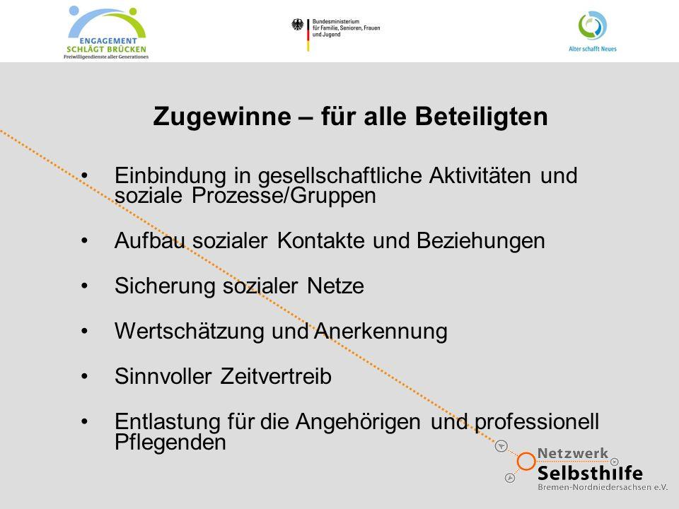 Zugewinne – für alle Beteiligten Einbindung in gesellschaftliche Aktivitäten und soziale Prozesse/Gruppen Aufbau sozialer Kontakte und Beziehungen Sic