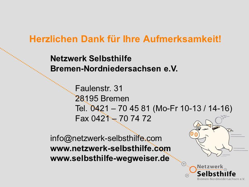 Herzlichen Dank für Ihre Aufmerksamkeit! Netzwerk Selbsthilfe Bremen-Nordniedersachsen e.V. Faulenstr. 31 28195 Bremen Tel. 0421 – 70 45 81 (Mo-Fr 10-