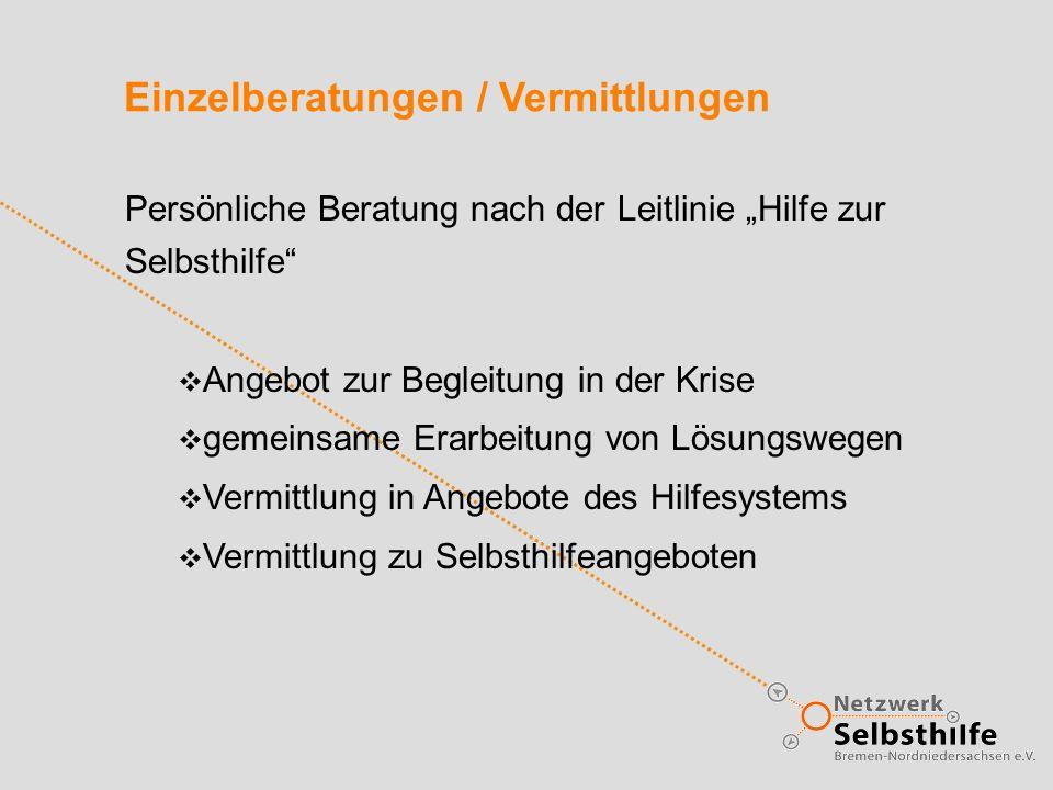 Einzelberatungen / Vermittlungen Persönliche Beratung nach der Leitlinie Hilfe zur Selbsthilfe Angebot zur Begleitung in der Krise gemeinsame Erarbeit