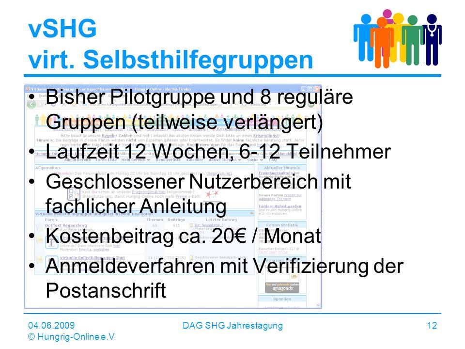 04.06.2009 © Hungrig-Online e.V. DAG SHG Jahrestagung12 vSHG virt. Selbsthilfegruppen Bisher Pilotgruppe und 8 reguläre Gruppen (teilweise verlängert)