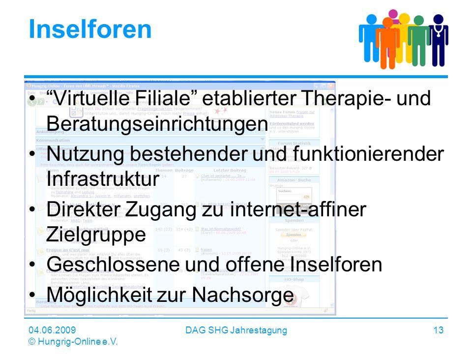 04.06.2009 © Hungrig-Online e.V. DAG SHG Jahrestagung13 Inselforen Virtuelle Filiale etablierter Therapie- und Beratungseinrichtungen Nutzung bestehen