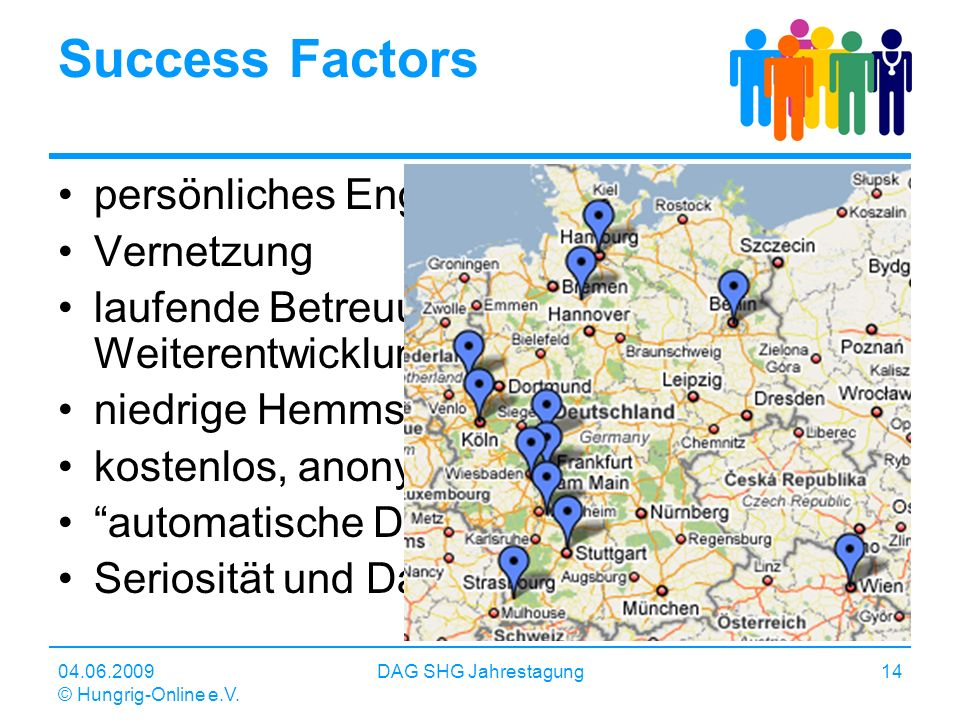 04.06.2009 © Hungrig-Online e.V. DAG SHG Jahrestagung14 Success Factors persönliches Engagement Vernetzung laufende Betreuung und Weiterentwicklung ni