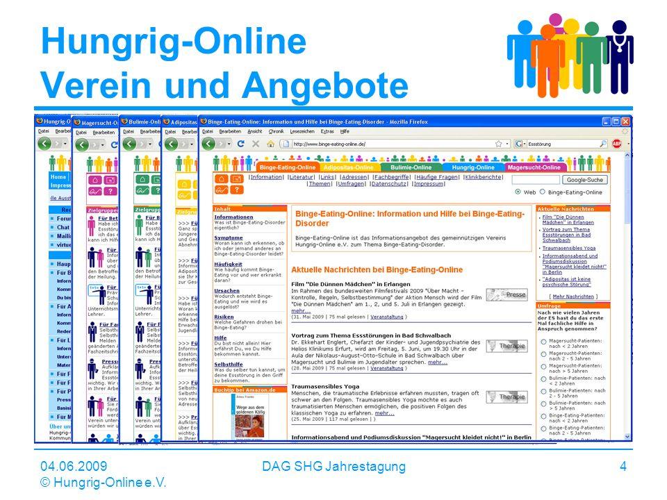 04.06.2009 © Hungrig-Online e.V. DAG SHG Jahrestagung4 Hungrig-Online Verein und Angebote Internetbasierte Informations- und Kommunikationsangebote zu