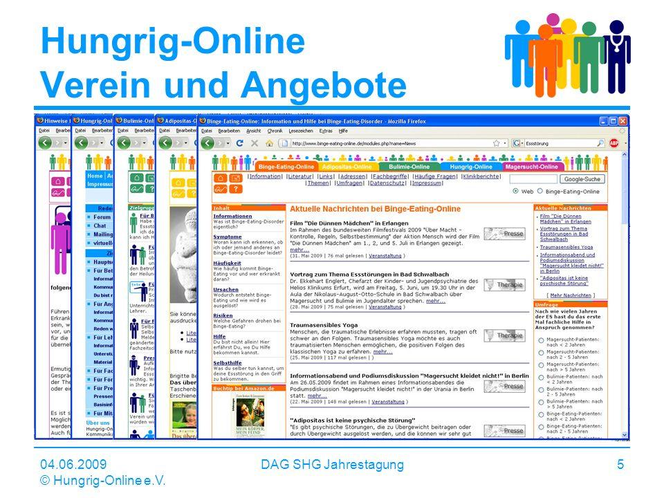 04.06.2009 © Hungrig-Online e.V. DAG SHG Jahrestagung5 Hungrig-Online Verein und Angebote Internetbasierte Informations- und Kommunikationsangebote zu