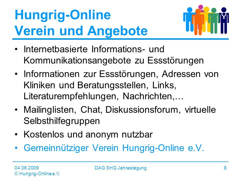 04.06.2009 © Hungrig-Online e.V. DAG SHG Jahrestagung8 Hungrig-Online Verein und Angebote Internetbasierte Informations- und Kommunikationsangebote zu