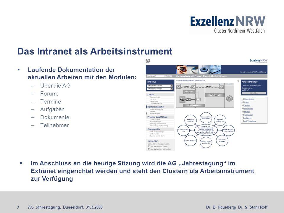 AG Jahrestagung, Düsseldorf, 31.3.20099Dr. B. Hausberg/ Dr.