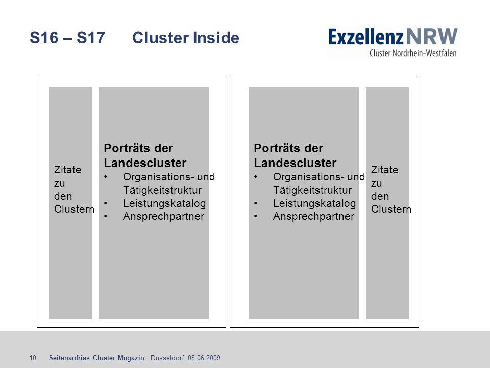 Seitenaufriss Cluster Magazin Düsseldorf, 08.06.200910 S16 – S17 Cluster Inside Porträts der Landescluster Organisations- und Tätigkeitstruktur Leistu